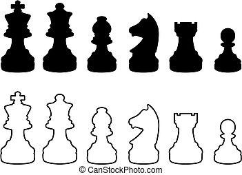 Chessmen black and white silhouettes