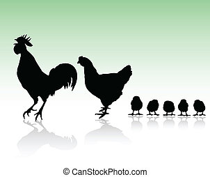 chicken family silhouettes