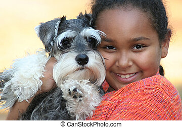 Child and Pet Puppy