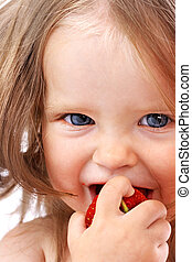 Child with food.