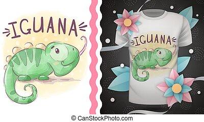 Childish cartoon character animal iguana