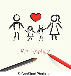 children drawing happy family with red heart