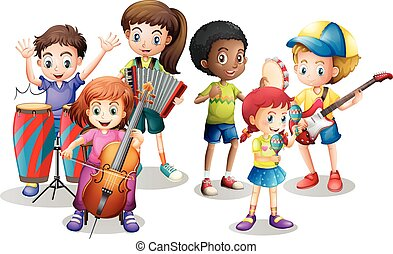 Children in band playing different instruments