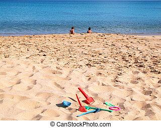 children in the beach