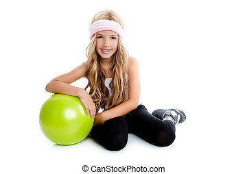 Children little gym girl with green yoga ball