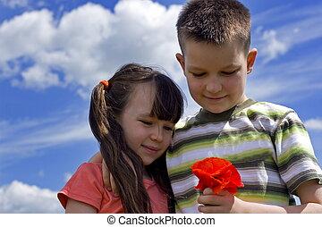 children with flower