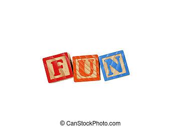 Childrens Alphabet Blocks spelling the word Fun