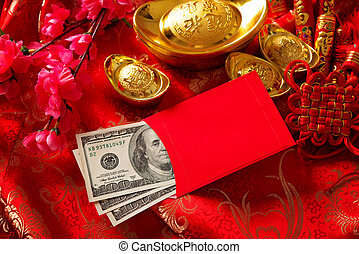 Chinese new year festival decorations, red packet or ang pow is given to children and elders during chinese new year for blessing.