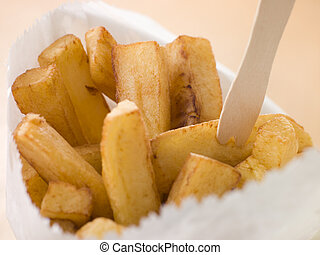 Chip Shop Chips in a Bag with a Wooden Fork