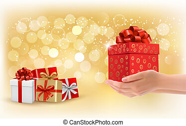 Christmas background with gift boxes. Concept of giving presents. Vector.