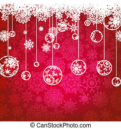 Beautiful red happy Christmas card, winter holiday background. EPS 8 vector file included