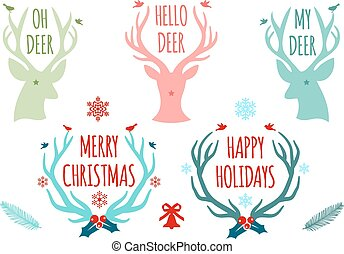 Christmas deer antlers, vector set