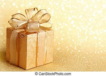 Christmas gift box on yellow background
