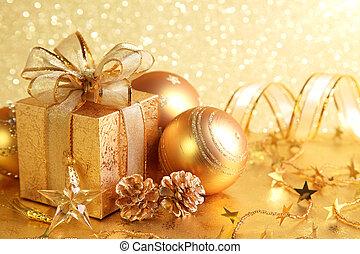 Christmas gift box with christmas balls