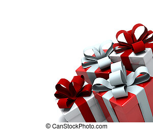 3d Render of red and white christmas gift boxes