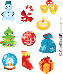 Christmas icons and symbols for design isolated on white