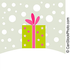 Christmas present in winter scenery. Vector illustration