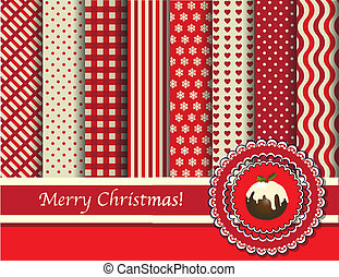 Christmas digital scrapbooking paper swatches in retro tones with ribbon and pudding. EPS10 vector format.