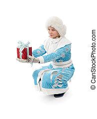 Christmas woman holding a gift box