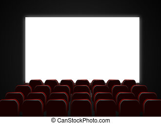 Cinema theatre screen and chairs