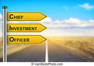 CIO or Chief investment officer words on yellow road sign
