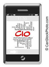 CIO Word Cloud Concept on Touchscreen Phone