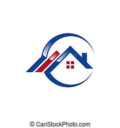 circle home logo symbol, real estate house logo icon vector design