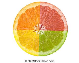 This is a composite shot of four different citrus fruit.