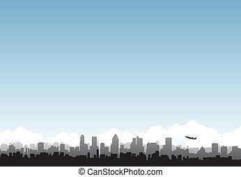 City horizon airplane