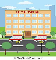 Two ambulance cars parking near city hospital building.