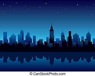 Illustration with panorama of modern city at night.