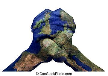 the clasped hands of a young man patterned with a Europe map (furnished by NASA) on a white background, depicting the concept of union