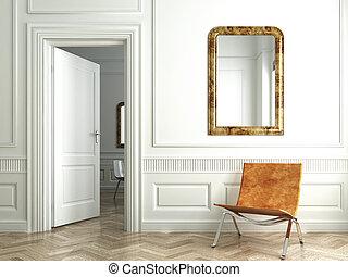 classic white interior whit mirrors