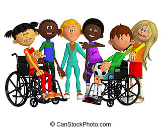 Classmates, friends with two disabled children
