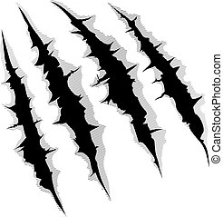 An illustration of a monster claw or hand scratch or rip through white background