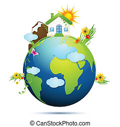 illustration of home and tree around globe showing clean earth