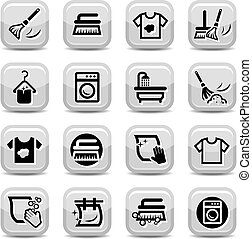 Cleaning And Washing Icons Set for web and mobile. All elements are grouped.