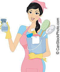 Illustration of a Girl Carrying Cleaning Materials