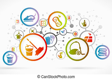 Cleaning icon set vector abstract background