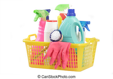 Cleaning supply bottles in a basket, isolated on white background