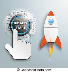 Click Hand Push Button Business Start Rocket