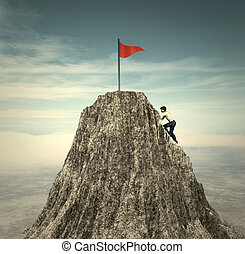 Climbing to the flag