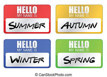 clime seasons name tags