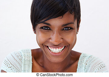 Close up attractive african american woman smiling