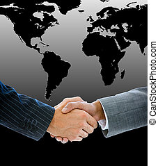Close-up of a business people shaking hands against a black worldmap
