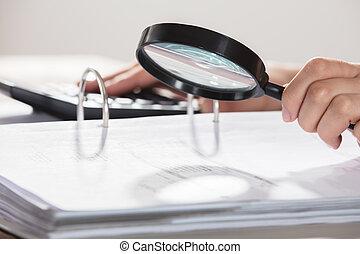 Businesswoman Examining The Documents