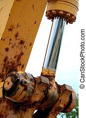 Close-up of a hydraulic piston