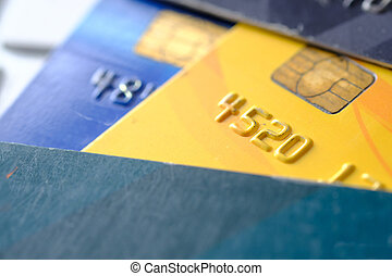 close up of credit cards on keyboard