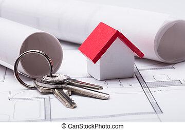 House Model And Keys On Blueprint