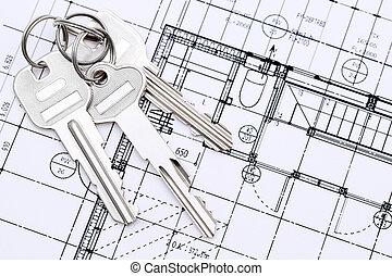 Close up of key on blueprint